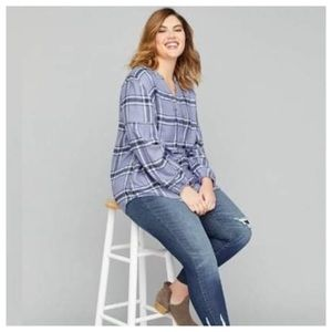 🔴NWT Plus Size 22/24 V Neck Plaid Flannel Tunic